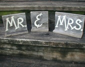 Rustic Wood Bridal Wedding Signs Mr and Mrs With Base For Table Top