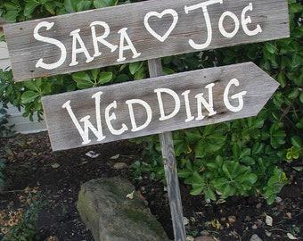 Personalized Wedding Sign on Stake Barn Wood Western Rustic Bridal Custom Name