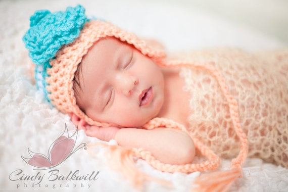 Newborn Baby Earflap Hat with Rosette-Peach and turquoise or Choose your own Colors 0-3 months-Photography Prop