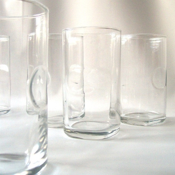 Vintage Clear Glassware Thumbprint Glasses By