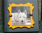 4x4 Picture Frame Wedding Photo Frame Cottage Chic Gray Yellow