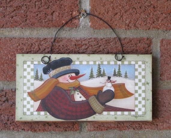 Sign Snowman Country Primitive Folk Art Angela Anderson