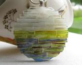 Art Glass Pendant, Winter Sunset Pendant, Mosaic Art Pendant, Handmade Glass Art, Woven Glass Jewelry