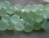 Last Pair...Natural Chalcedony Briolettes, Pretty and Translucent, Sea Green Color, with All Over Faceting, 10 x 10 x 8mm, One Pair, A4-4