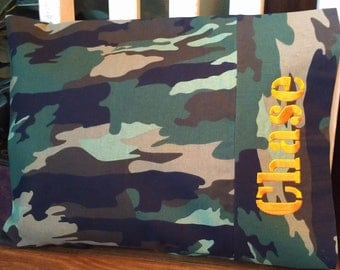 Camo Camoflauge Personalized Travel-size Pillowcase - Toddler Pillow Pillowcase - Kids Pillowcase