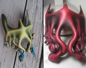MADE to ORDER- Leather Cthulhu 3/4 mask by Parkers and Quinn.Wearible Art, Display, Labyrinth Mardi Gras day of the dead,fetish LARP