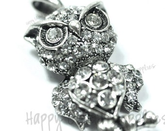 Antique Silver and Rhinestone Owl Pendant