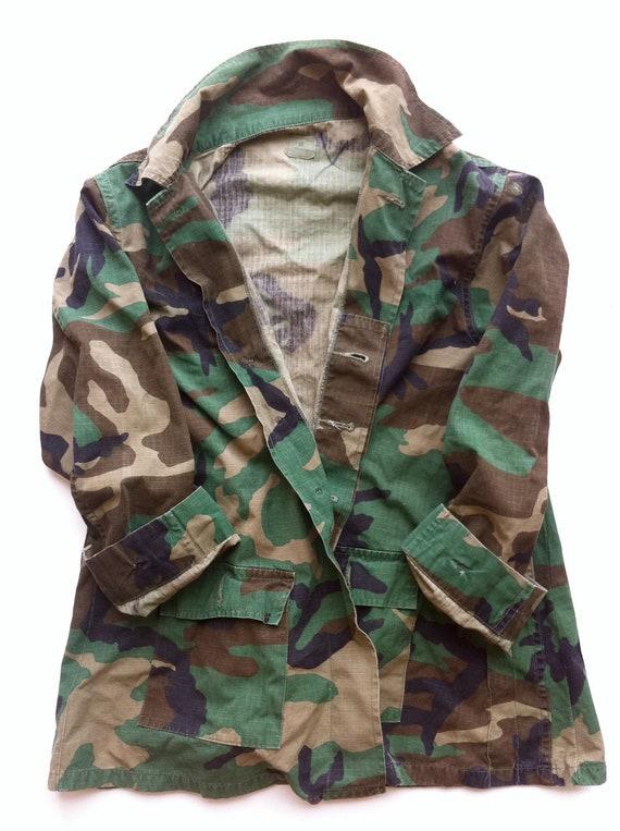 Vintage Camo Cargo Army Shirt Jacket
