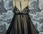 Antique Vintage 40s   Black  Nylon Chiffon and Lace Nightgown
