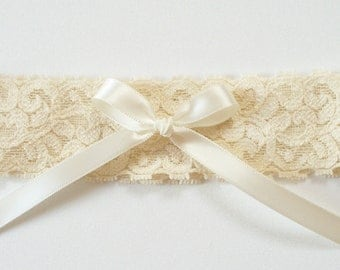 Wedding Toss Garter, Champagne Stretch Lace, Ivory Bow