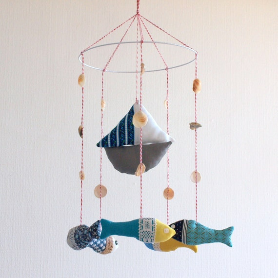SALE 15% OFF - Boat and fish baby crib mobile - nursery mobile - baby mobile in blue aqua yellow colors