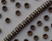 4 mm Vintage Tiny Gold Toned Rondelle Beads Classic Rhinestone 20 or 40 Pieces