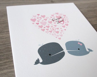 Wedding Card. Love Card - Forever Love Whale Card. Eco Friendly