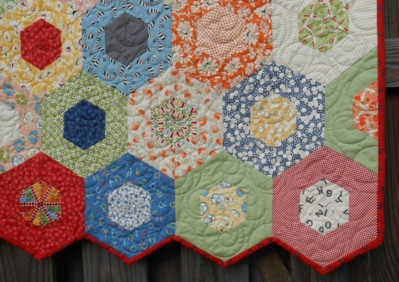 SALE / Kids/ Baby Quilt / Crib Bedding / Nursery Decor / Girl Quilt / Boy Quilt / Hexagon Wee Play / Ready to Ship