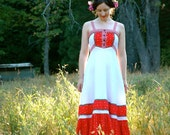 Gunne Sax Maxidress... Vintage 1970s Folk Dress... Red and White...  SNOW White ROSE RED (xs)