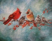 Cardinal Family Art Print, cardinal paintings, red birds, winter birds, snow birds, cardinals wall art, Christmas birds, Vickie Wade art