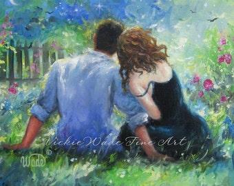 Garden Lovers Art Print, loving couple paintings, wall art, couples in love, romance paintings, figure, Vickie Wade Art