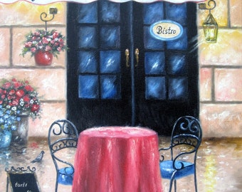French Cafe Original Oil Painting, cafe paintings, coffee shop painting, French paintings, pastry shop, bistro wall art, Vickie Wade art