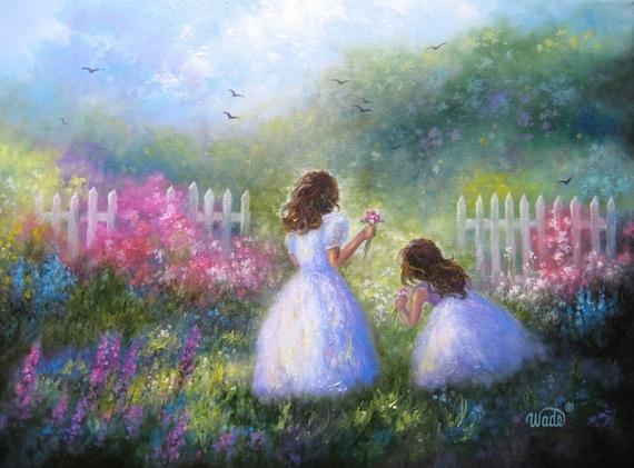 Summer Sisters Original Oil Painting - garden girls, Flower garden, two sisters - Vickie Wade art