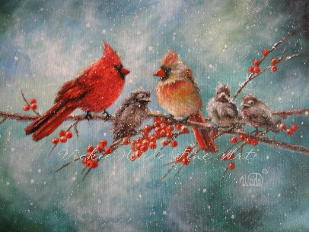 Cardinal Family Art Print Cardinal Paintings By