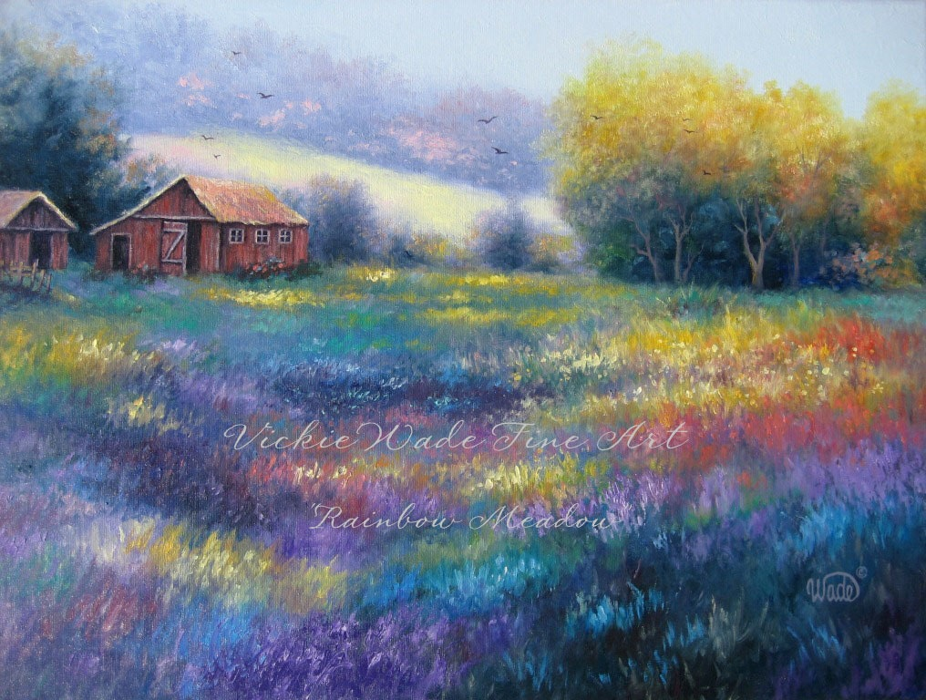Rainbow Meadow Oil Painting Landscape Farm By