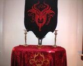 Krampus Banner in Red on Black Canvas