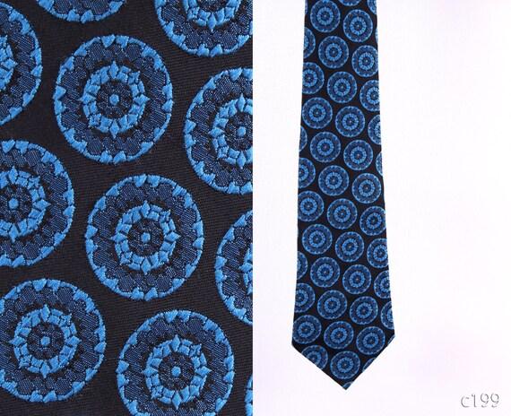 Mens CIRCLE Tie . 70s Vintage Blue Retro Wide Tie Bohemian Urban Casual Neckwear Boyfriend Gift