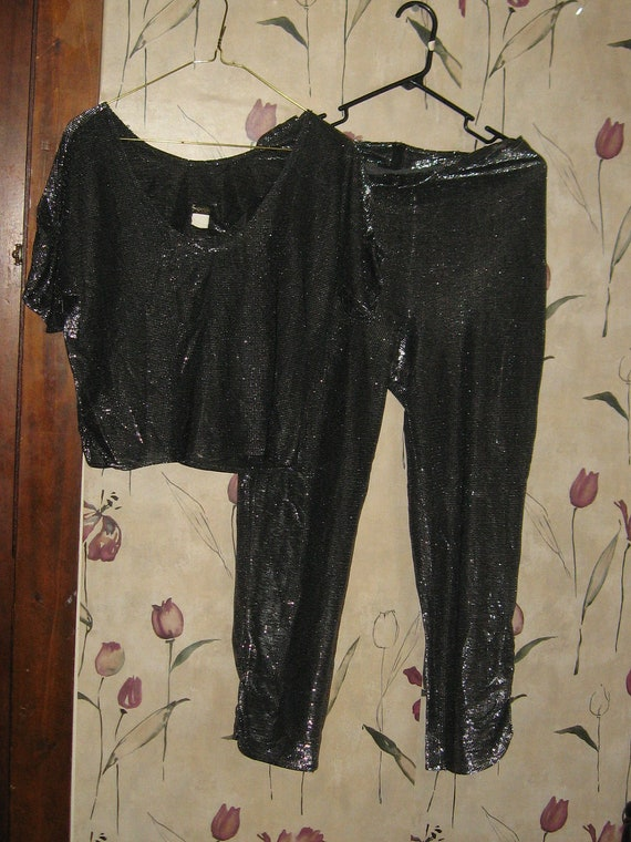 Vintage Fredericks of Hollywood SEXY shimmering black silver  disco  lounge outfit