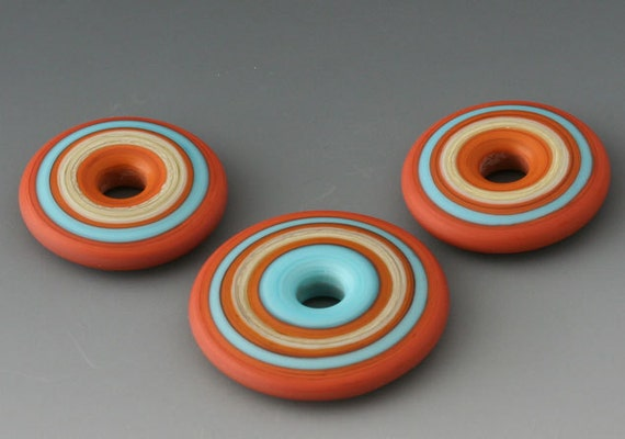 Southwest Discs - (3) Handmade Lampwork Beads - Red Tile, Turquoise - Etched, Matte