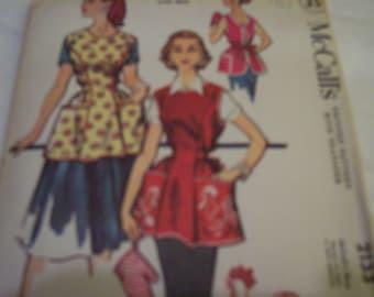 vintage mccalls printed apron pattern number 2133