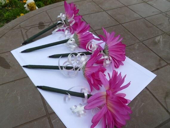 Pink Fuchsia Daisy Flower Pen Set  5 Flower Pens-Guest Book Pens-Party Favors-Bridal Shower Favors