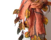 Nuno Felted scarf   Autumn leaf  yellow ginger green orange