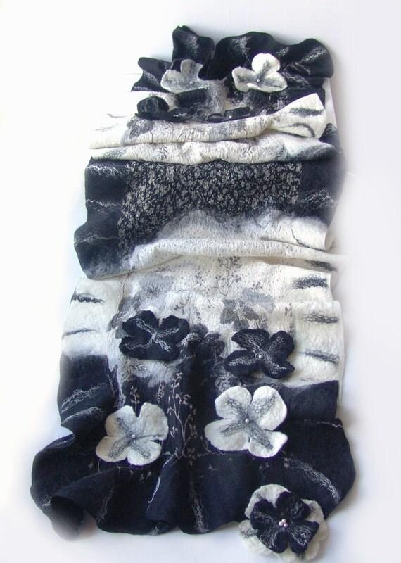 Nuno Felted scarf   ruffle Black White flower stole