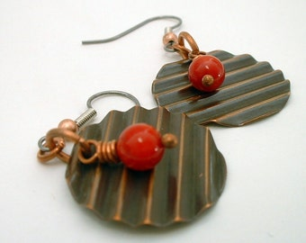Copper Disc Earrings with Red Coral Bead