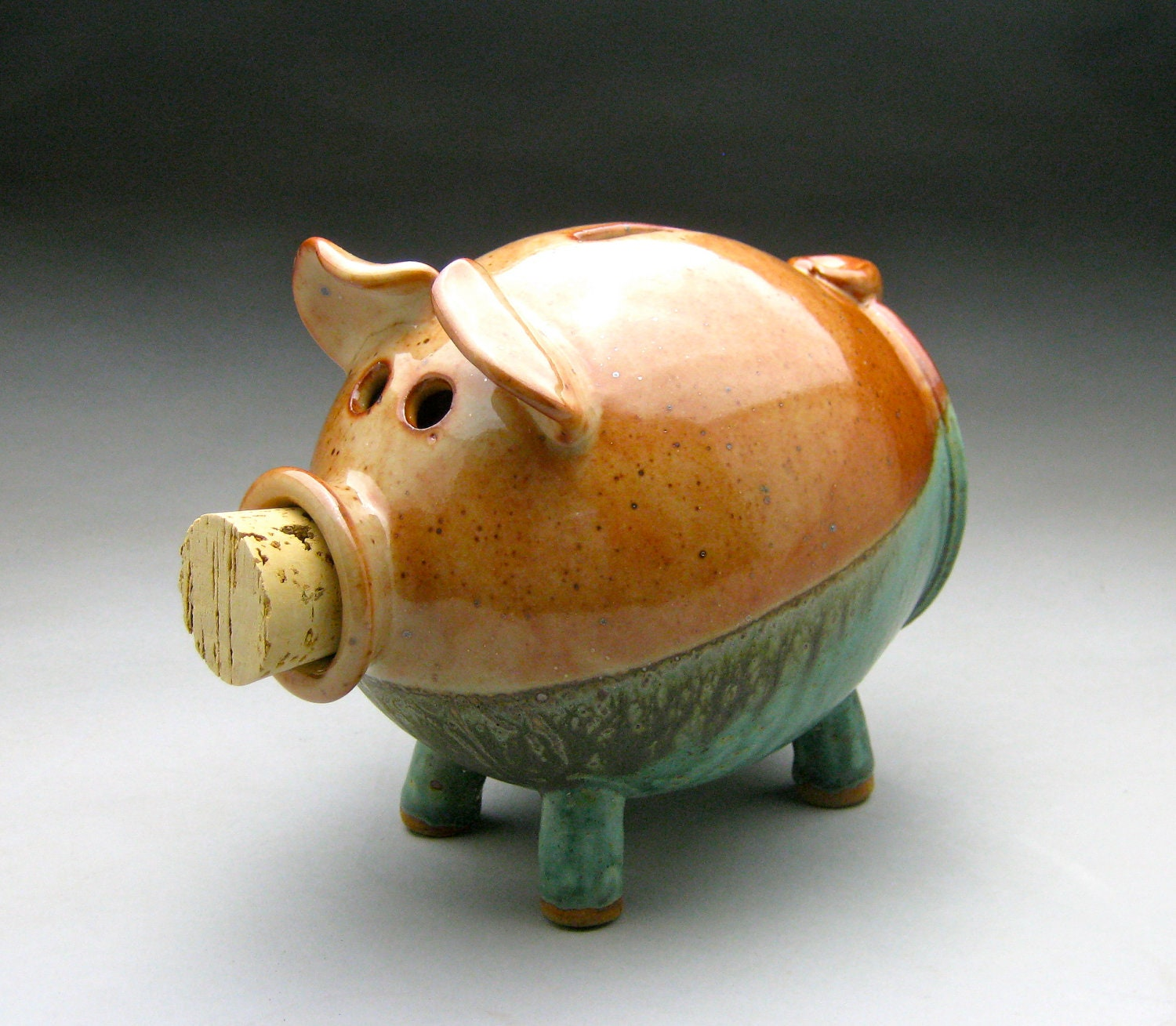 Copper And Turquoise Ceramic Piggy Bank
