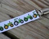 Ribbon Pacifier Clip- Tractors-- John Deere inspired