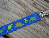 Ribbon Pacifier Clip- Dinosaurs