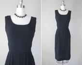 Vintage 1960s Silk Dress // 60s LBD Cocktail Dress // medium