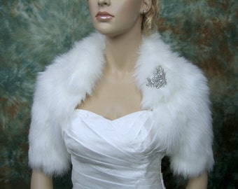 White faux fur bolero jacket shrug Wrap FB005-White