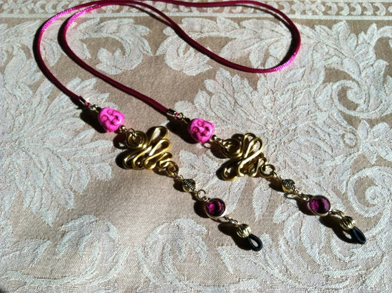 Pink Buddha Beads with Pink Crystal Connector Beads And Gold Aluminum Wirework Eyeglass Chain