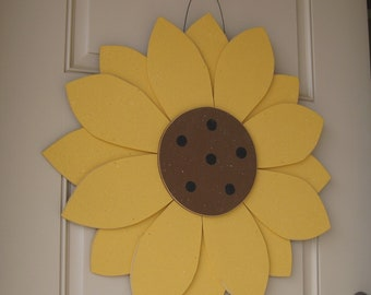 "LARGE 24"" Layered HANGING SUNFLOWER  for  door, wall hanging, girl bedroom or home decor"
