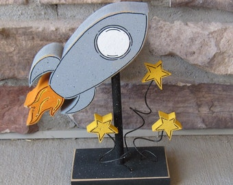 Rocket Ship Block on stand with Stars for Space themed decor, Boy Room decor, Teacher gift, desk, shelf and home decor