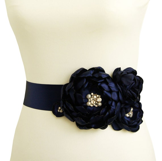 Items similar to navy blue bridal sash wedding belt for Blue sash for wedding dress
