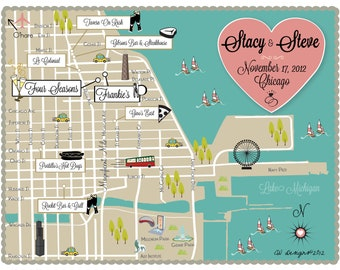 Custom Wedding Map Infographic -- Chicago, IL