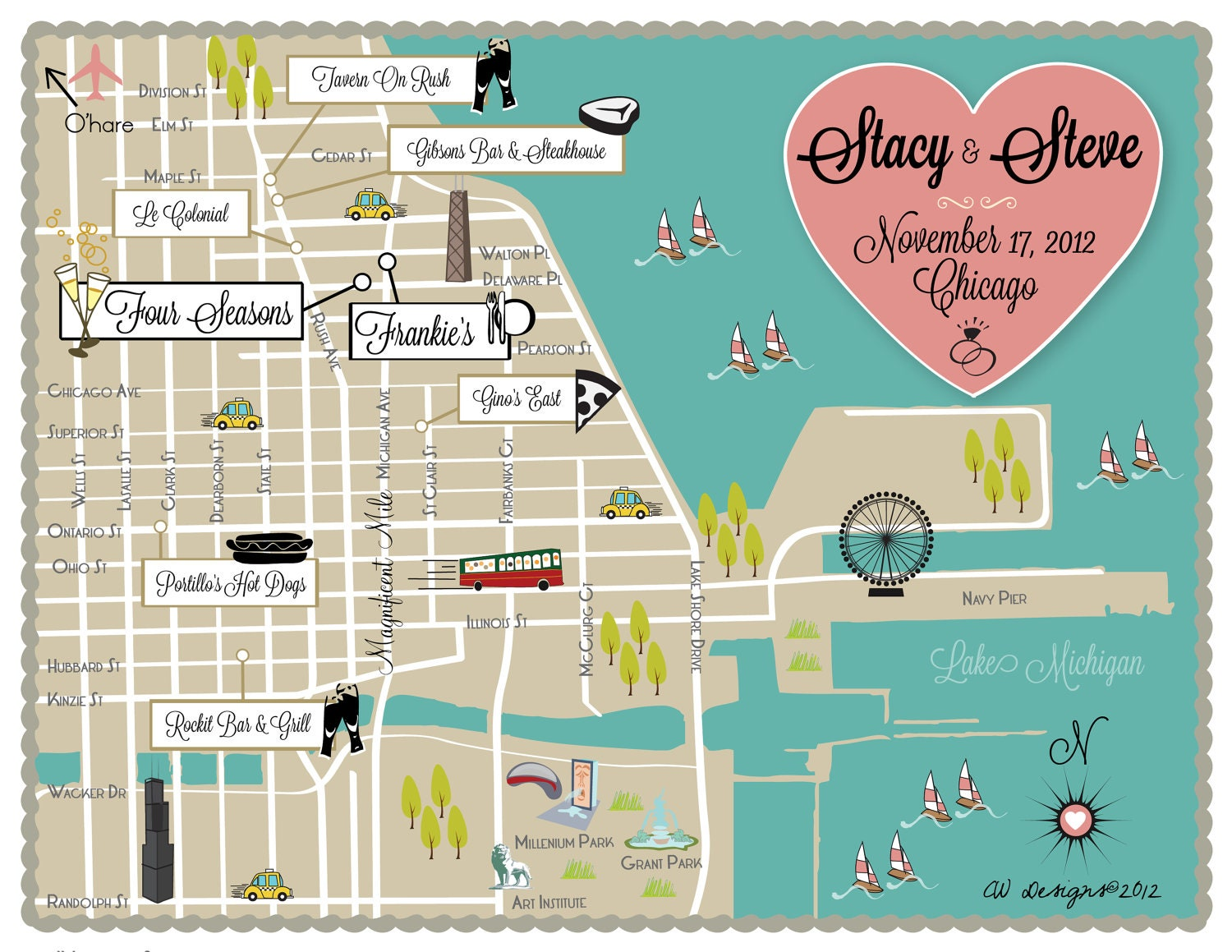 Custom Wedding Map Infographic Chicago IL - Chicago map etsy