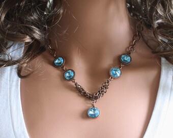 Swarovski Rivoli Necklace, Antiqie Copper Chain Necklace, Aquamarine Rivoli Crystals Necklace, Made to Order