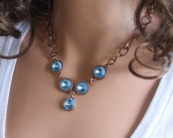 Swarovski Rivoli Necklace - Antique Copper Chain Necklace - Aquamarine Rivoli Crystals Necklace - Made To Order - Custom Order - Rivolis