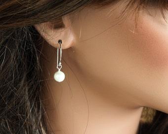 Fresh Water Pearls Earrings - Simple Earrings - White Pearl Earrings - Pearl Dangle Earrings - Sterling Silver Earrings
