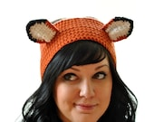 Fox Crocheted Headband Earwarmer Orange and Black Fox Ears