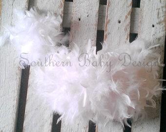 Newborn Girl White Feather Diaper Cover Headband Baby Girl Infant Photo Prop Baby Shower Gift Wedding First Birthday Cake Smash Easter Beach